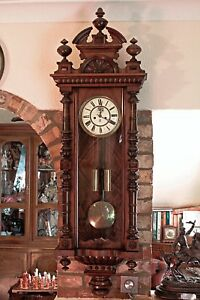 Antique German Gustav Becker Twin Weight Vienna Wall Striking Clock 1852