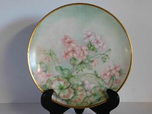 T V Limoges France 12 1 4 Charger Wall Hanging Plate Pink Flowers