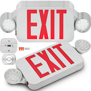 6 Pack Emergency Lights Red Exit Sign W dual Led Lamp Abs Residential Evacuation