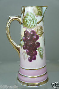 Antique Hand Painted Grapes Leaves Pink Porcelain Pitcher Gold Rims