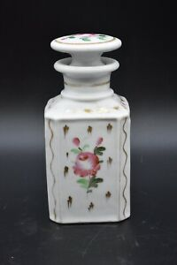 Old Paris French Porcelain Perfume Cologne Bottle White W Pink Roses Gold