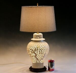 Old Chinese Porcelain Vase Lamp Reticulated White Carved Blanc De Chine