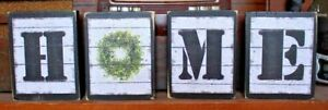 Home Letters Wreath Four Piece Rustic Primitive Wooden Sign Block Shelf Sitters