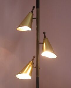 Pole Lamp Mid Century Modern 1960s 1970s Vintage Three Metal Cones