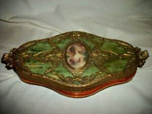 French Bronze Ormolu Hp Lady Portrait Vanity Box Amber Glass Celluloid Antique