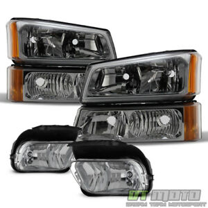 2003 2006 Chevy Silverado 1500 Avalanche Headlights Corner Bumper Fog Lights Set