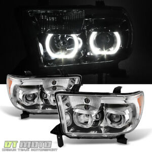 For 2007 2013 Toyota Tundra Sequoia Led Halo Projector Headlights Left Right Set