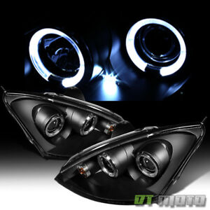 Blk 2000 2004 Ford Focus Led Dual Halo Projector Headlights Lamps Set Left Right