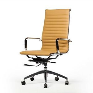 Mid century Modern Office Chair Brown Faux Leather Eames Style Fast Free Ship