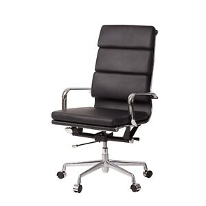 Mid century Modern Office Chair In Black Faux Leather Eames Style Fast Free Ship