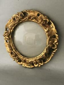 Vtg Italian Florentine Gold Tole Wood Round Convex Glass Miniature Picture Frame