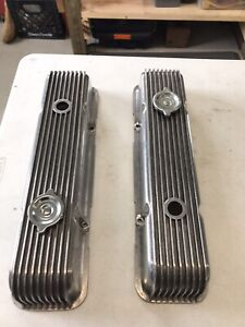 Vintage Cal Custom Sbc Chevrolet 327 350 Finned Valve Covers