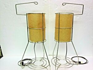 Pair Mid Century Wire Frame Lamps Frederick Weinberg Chrome W Fiberglass Shades