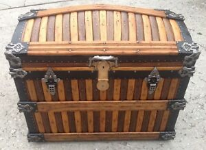 Beautiful Rare Antique Martin Maier Oak Slat Dome Top Trunk Excellent Interior