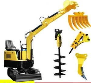 New Mini Yh10 Excavator Bulldoz With Breaking Hammer Scarifier Auger Log Grapple