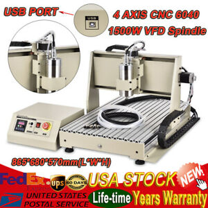 Usb 4 Axis Cnc Router Engraver 1500w Milling Drilling Woodworking Machine 6040t