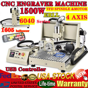 4 Axis Cnc 6040 Router Engraver Kit Usb 1500w Vfd Engraving Milling Machine Rc