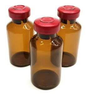 20ml Amber Glass Sterile Vials 5 Pack Free Shipping