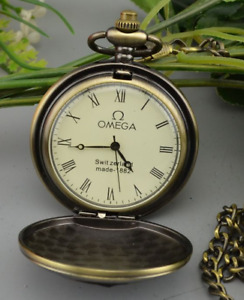 Old Omega Pocket Watch Mechanical Double Shell Watch Long Chain Pocket Watch