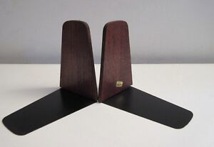 Pair Of Danish Mid Century Modern Teak And Metal Bookends Viking Japan Excellent