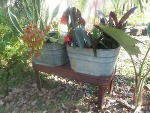 Vintage Double Basin Wash Tub Stand Wheeling Galvanized Metal Planter Cooler