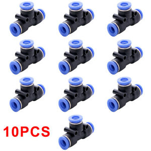 10pcs Pneumatic Tee Union Connector Tube Od 1 4 6mm Push In Air Fitting A