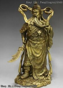 Chinese Fane Brass Warrior Dragon Robe Guan Gong Guanyu Hold Broadsword Statue