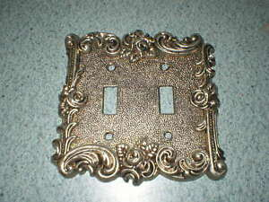 Vtg American Tack Hardware 2 Gang Ornate Wall Metal Switch Plate Cover 60tt