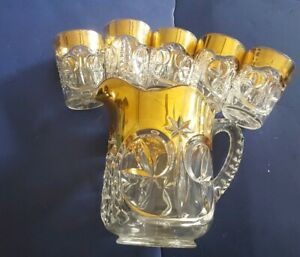 Antique Eapg Victorian Water Pitcher 5 Glasses Cleat Cut Gold Gilding