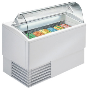 New 7 Pan Gelato Dipping Cabinet Curved Glass Display Freezer Excellence Pgc 7