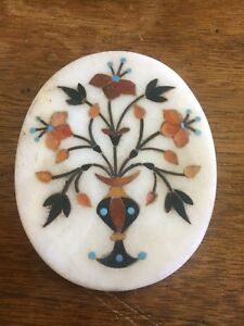 Pietra Dura Natural Stone Plaque Marble Turquoise Chalcedony Flowers