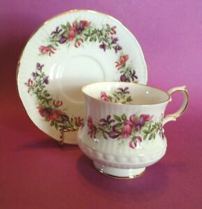 Queens By Rosina Pedestal Teacup And Saucer Wild Flowers Pattern England