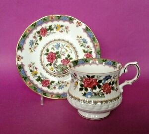 Queens By Rosina Pedestal Teacup And Saucer Flower Of Amaran Pattern England