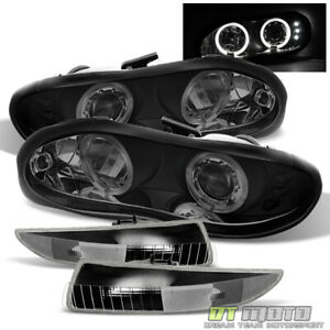98 02 Chevy Camaro Black Smoke Led Dual Halo Projector Headlights bumper Lamps