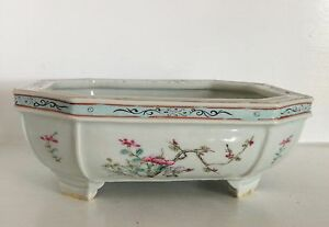 Antique Qing Chinese Footed Porcelain Narcissus Pot Planter Bowl Famille Rose