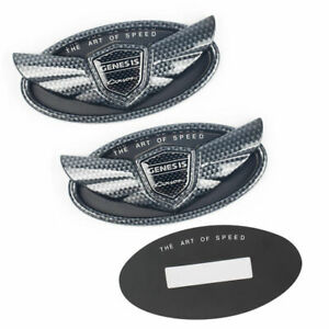 Set 2pcs 2010 19 For Hyundai Genesis Coupe Carbon Fiber Chrome Wing Logo Emblem