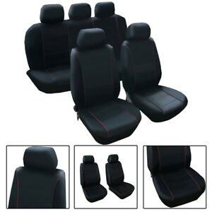 Black Pu Leather Seat Covers Front Bucket With Low Back Seat Covers