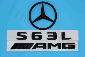 Gloss Black S63l Amg Trunk Logo Sticker Decal Emblem Badge Package For W221 S63l
