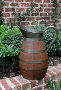 Antique French Country Oak Brass Banded Water Pitcher Wine Jug Umbrella Stand