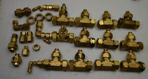 Lot 12 Swagelok Holland Brass Compression Fitting Tee 25 Mm 1 Od Plus Extras