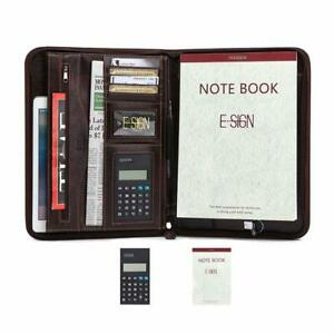 Professional Portfolio Binder Leather With Calculator And Writing Pad Zippered