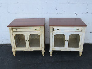 French Pair Of Distressed Painted Nightstands End Side Tables By Kindel 9341