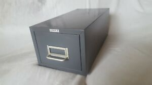Vintage Cole Metal Stackable Office Index Card Filing Single Cabinet Made In Usa