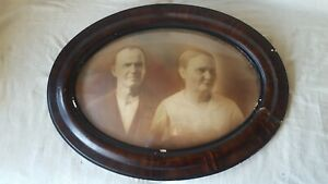 Vintage Antique Oval Tiger Wood Picture Frame With Bubble Glass