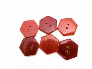 Vintage Buttons 1920s Burgundy Red Celluloid 6 Sided 2 Shades 6 Non Shank