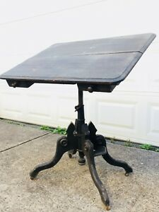 Antique 1877 Drawing Drafting Tilt Top Table Clowes George Gates Oak Iron