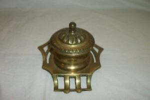 Art Deco Arts And Crafts English Brass Glass Inkwell Pen Rest Ornate Antique