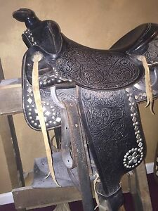 Vintage Western Show Saddle Very Fine Original Condition 1950 S Black Leather
