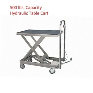 Rolling Table Cart 500lb Capacity Hydraulic Dolly Heavy Duty New