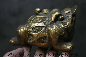 6 Old Chinese Copper Folk Feng Shui Animal Golden Toad Coins Wealth Sculpture